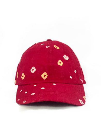 Red Bandhani 6-Panel Adjustable Cap
