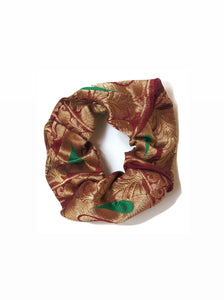 Chanderi Sari Scrunchie