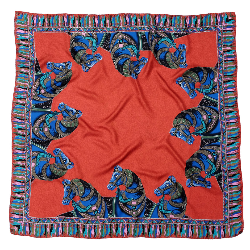 Red Silkhorse Signature Silk Twill Scarf