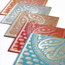 Load image into Gallery viewer, Paisley Reflection Kagzi Handmade Paper Cards - Set of 5