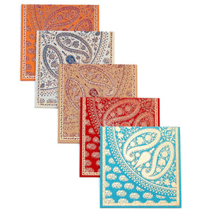 Paisley Reflection Kagzi Handmade Paper Cards - Set of 5