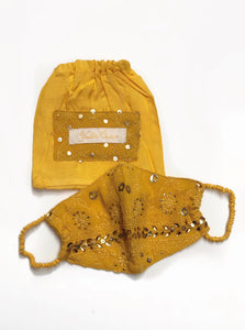 Turmeric Chikankari Face Mask with Pouch