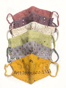 Malai Chikankari Face Mask with Pouch