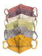 Load image into Gallery viewer, Turmeric Chikankari Face Mask with Pouch