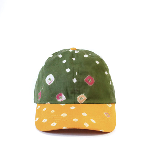 Olive & Yellow Bandhani 6-Panel Adjustable Cap
