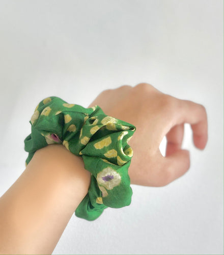 Green Silk Bandhani Scrunchie