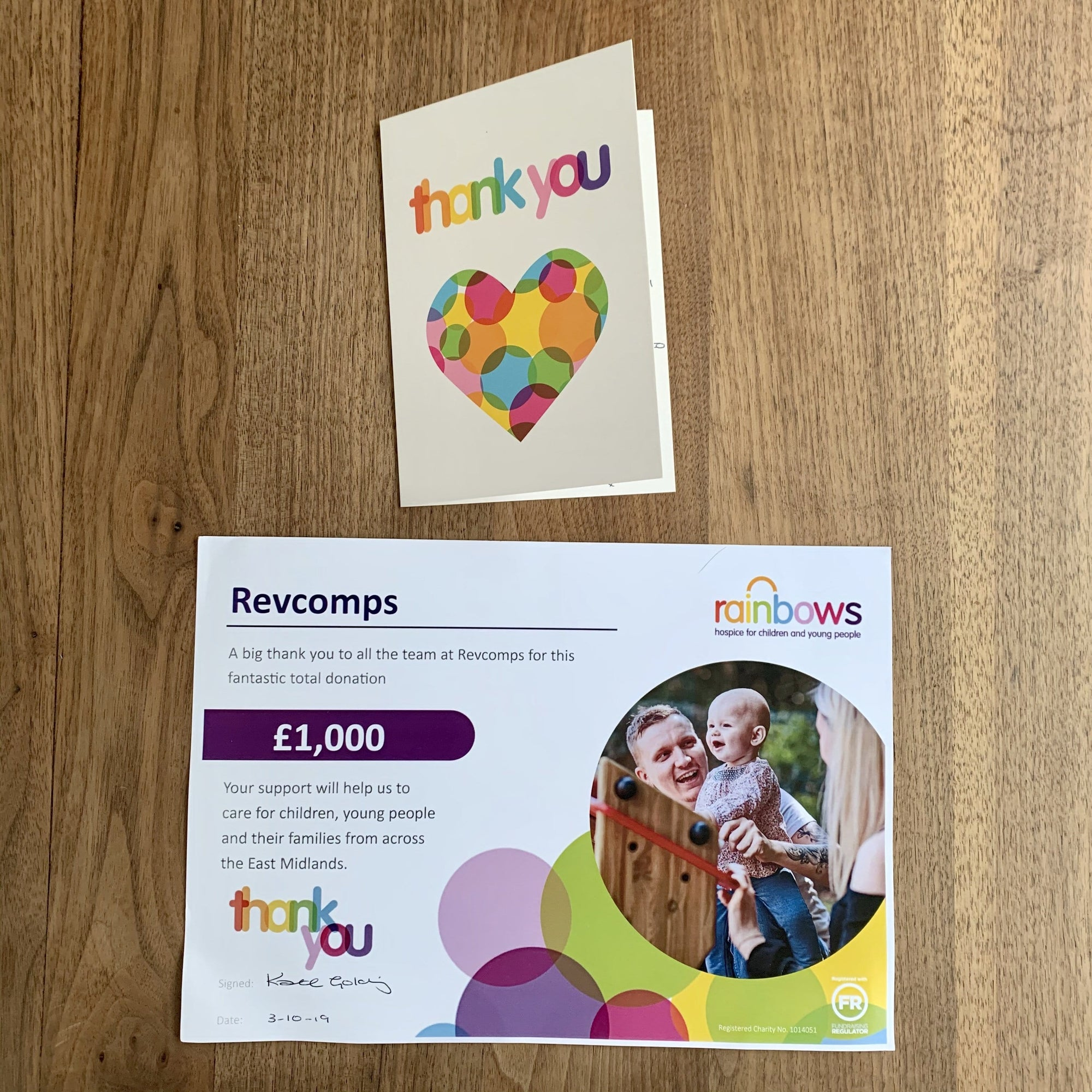 £1000 - Rainbow Children's Hospice
