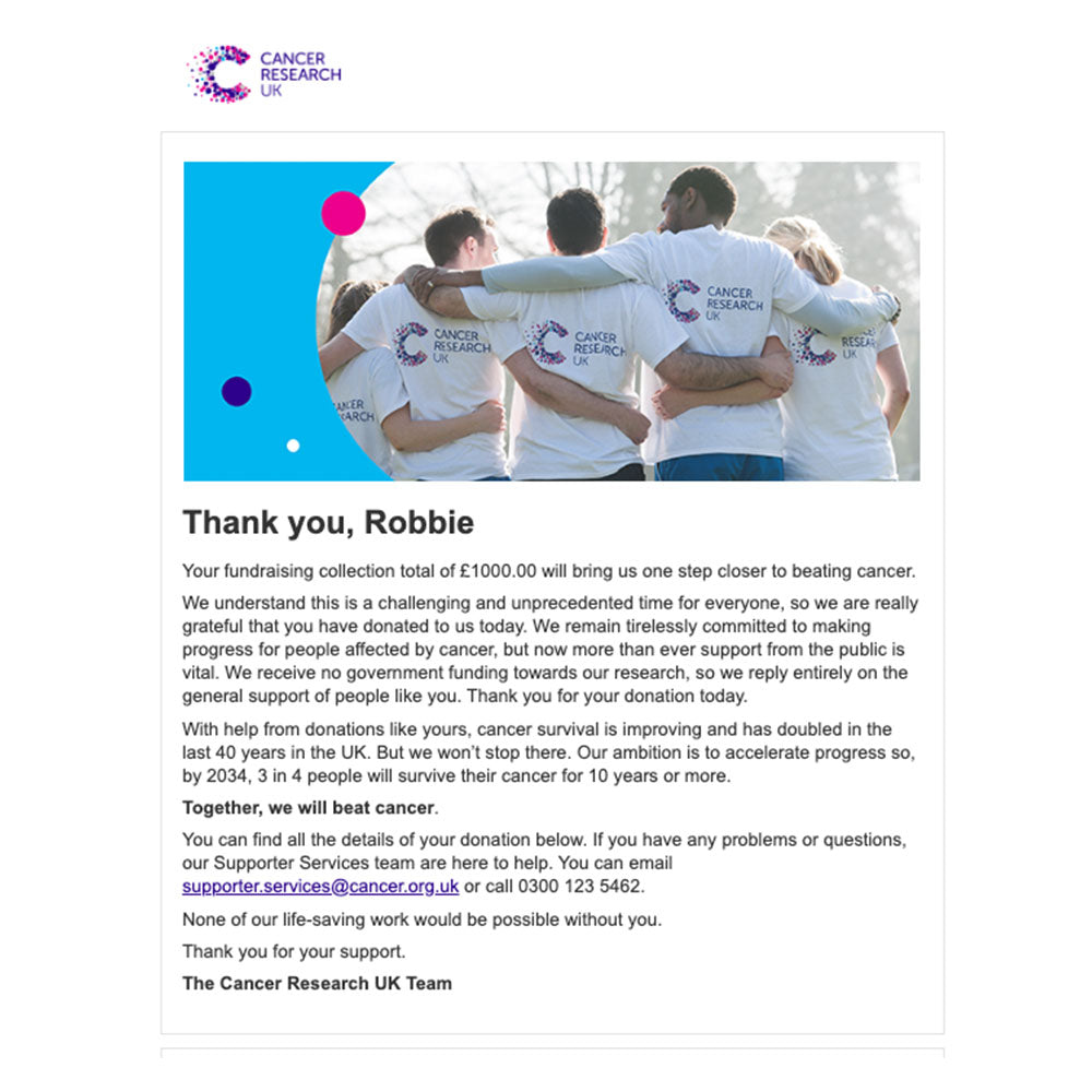£1000 - Cancer Research UK