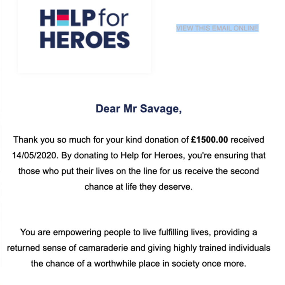 £1500 - Help For Heroes