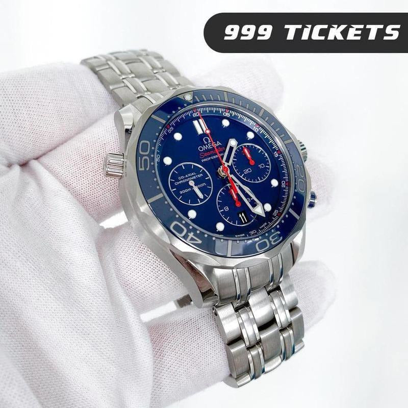 Rev Comps Competition Omega Seamaster Diver Watch Blue - 999 Tickets Win Cars Bikes Vans