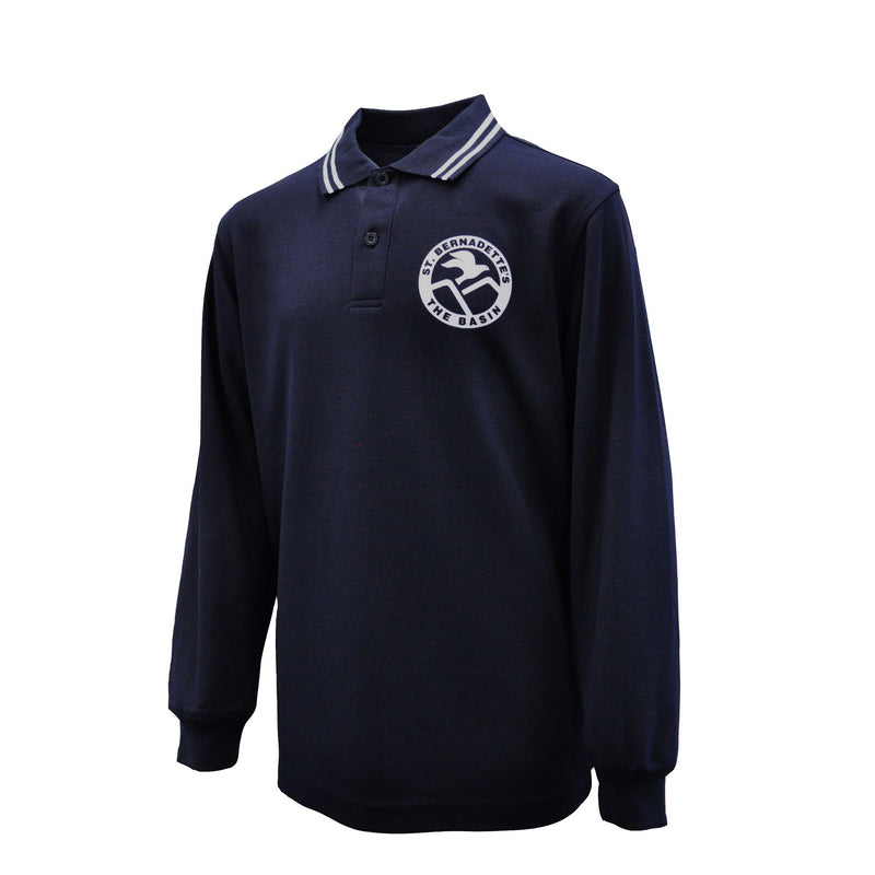 Long Sleeve Polo Shirt (Navy/White)