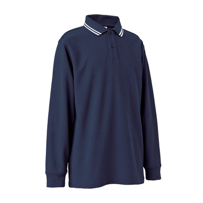 Long Sleeve Polo Shirt with Striped Collar - MALVERN