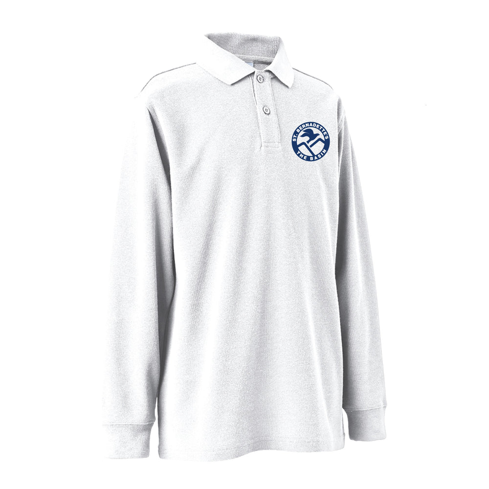 Long Sleeve Polo Shirt (White)