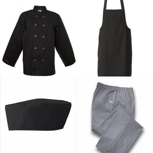 Complete Chef's Outfit - Black Jacket & Hat