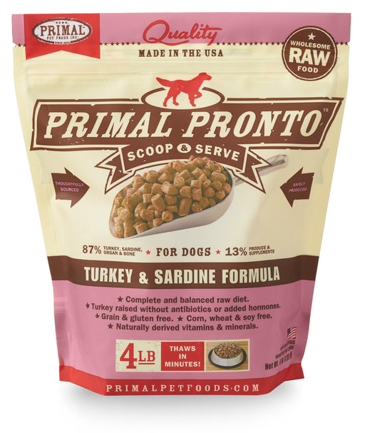 Primal | Pronto Frozen Raw Scoop & Serve Turkey & Sardine Formula 4 lb