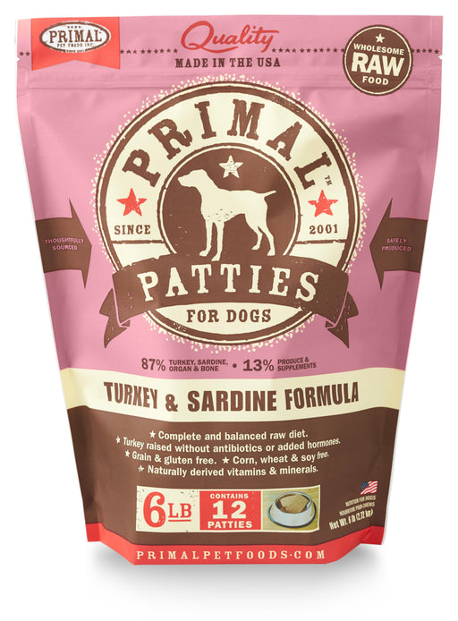 Primal | Frozen Raw Patties Turkey & Sardine Formula 6 lb