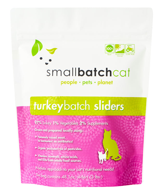 Small Batch | Frozen Raw Cat Sliders Turkey Batch 3 lb