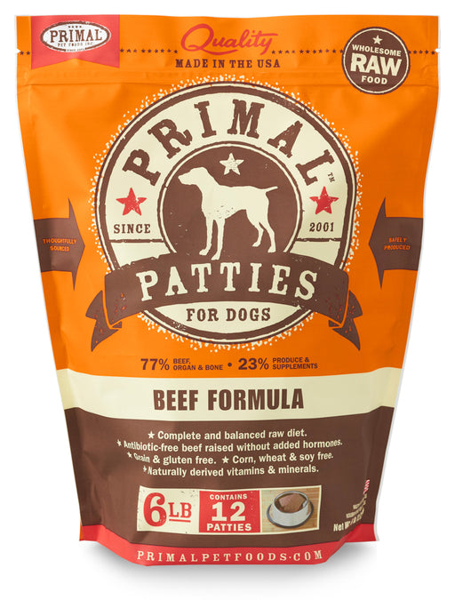 Primal | Frozen Raw Patties Beef Formula 6 lb