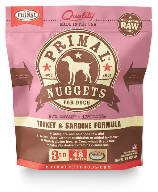 Primal | Frozen Raw Nuggets Turkey & Sardine Formula 3 lb