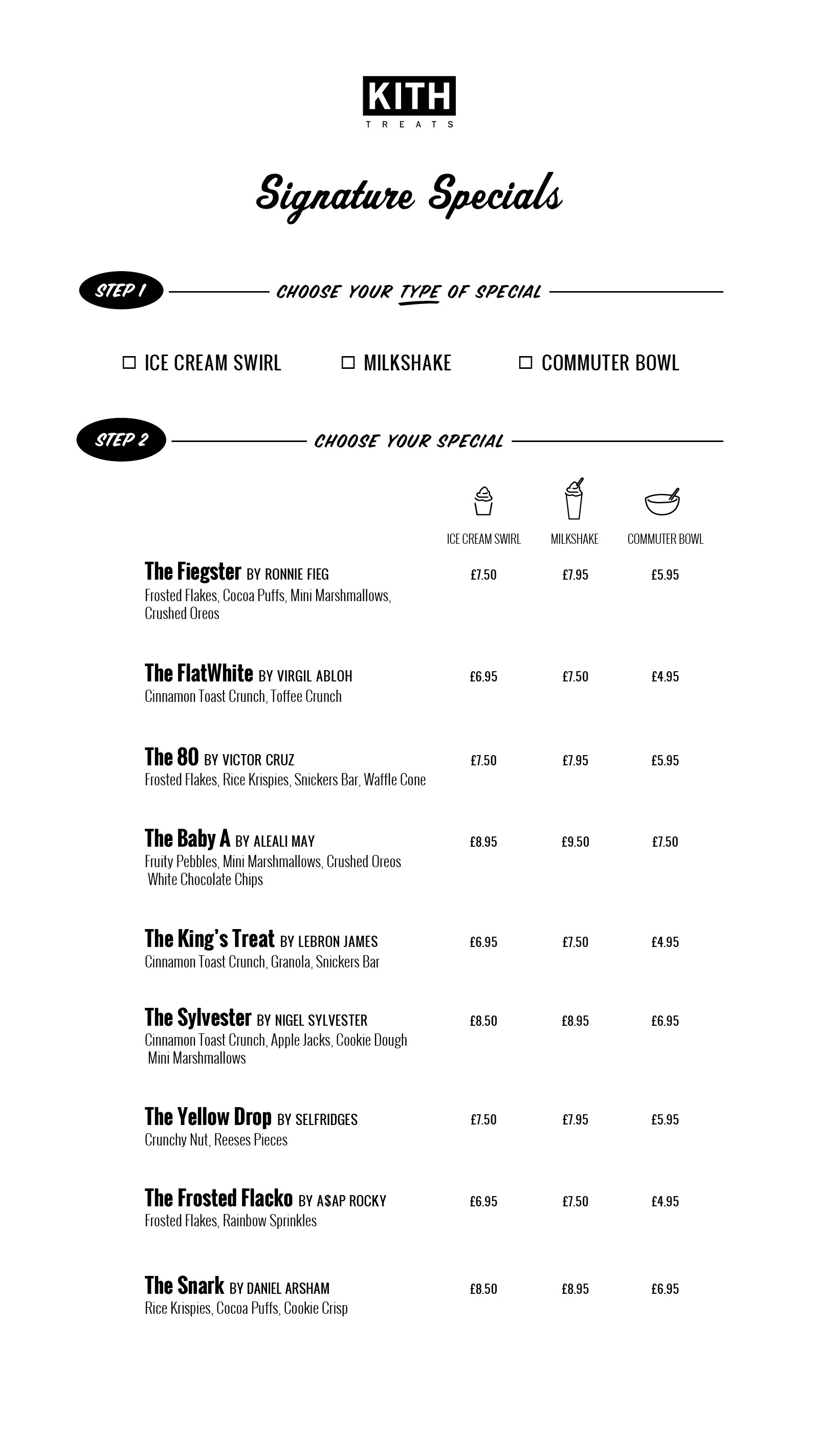 KITH treats Hirshleifers menu