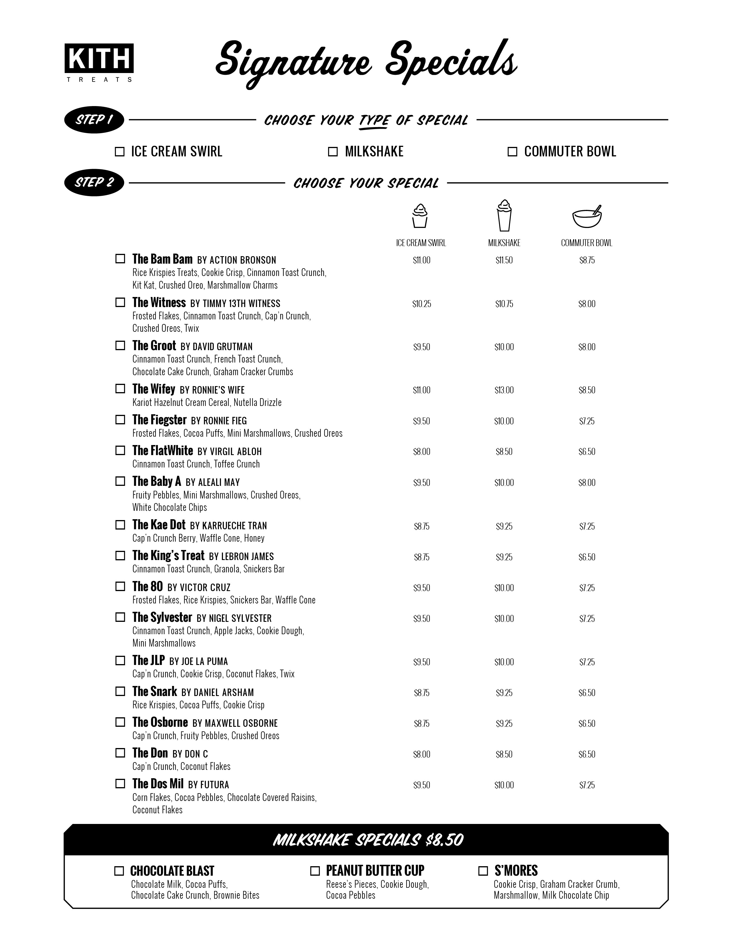 Treats Miami Menu