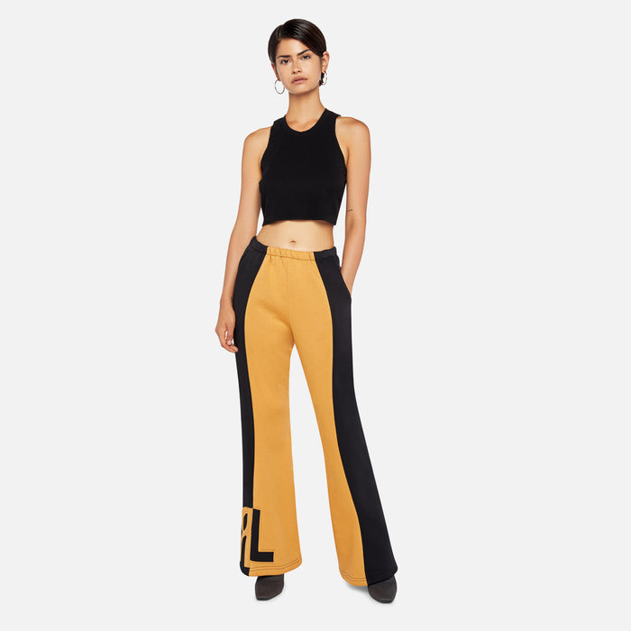 Rue-L Flare Tracksuit Pant - Black / Yellow