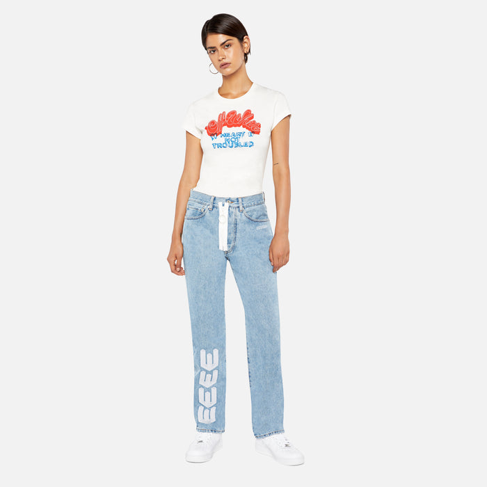 Off-White Embroidery Baggy Blue Jeans - Medium Blue