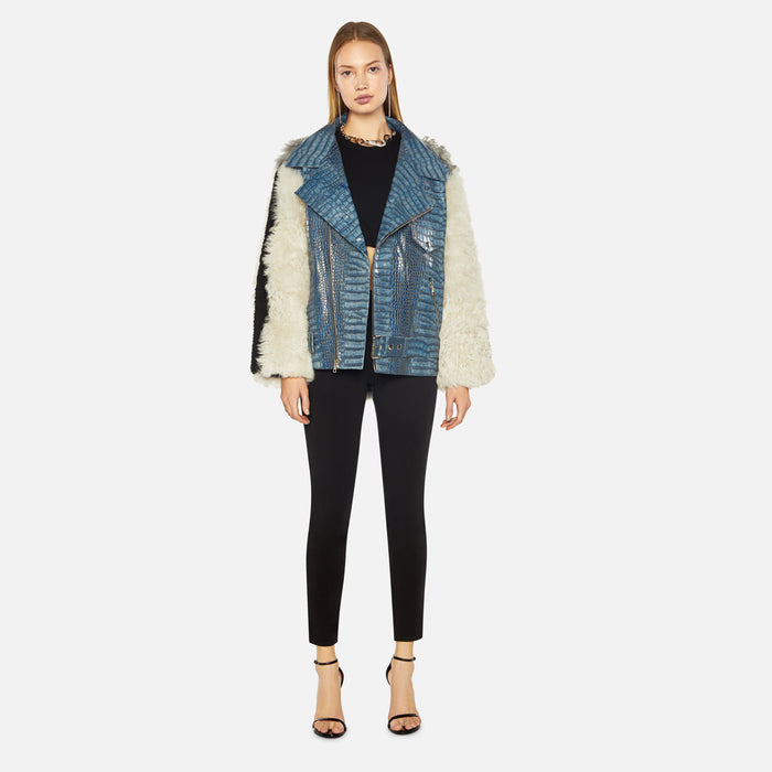 Sandy Liang Croc Rivington Moto Jacket - Blue