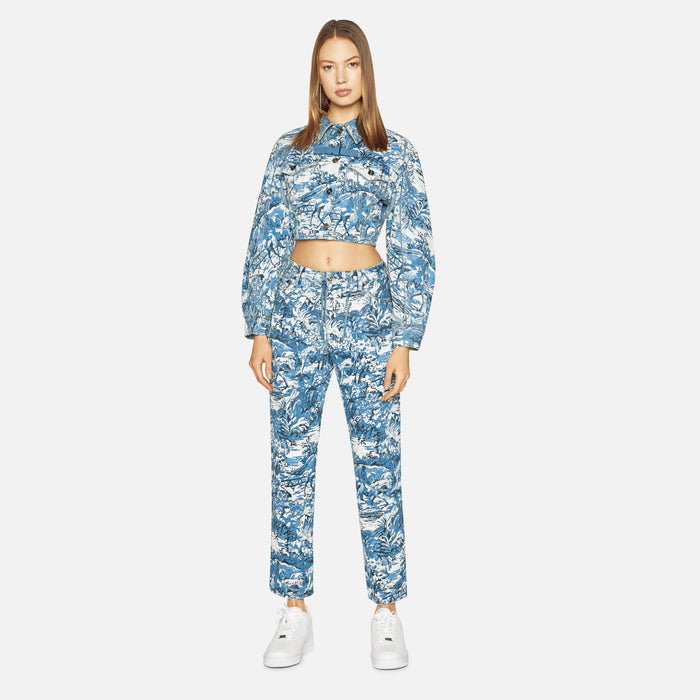 Off-White Tapestry Crop Denim Pants - Medium Blue