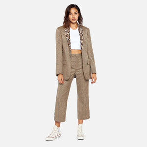 R13 Tuxedo Trouser - Brown Glenplaid with Leopard