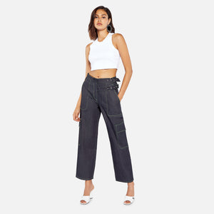 Miaou Daisy Pant - Navy / Neon Sitching