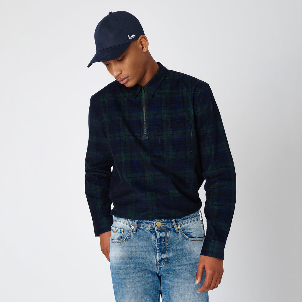 Kith Quarter-Zip Collared Shirt - Navy Forest-look