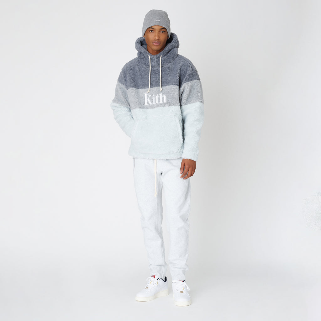 Kith Sherpa Double Pocket Hoodie - Pearl Blue-look