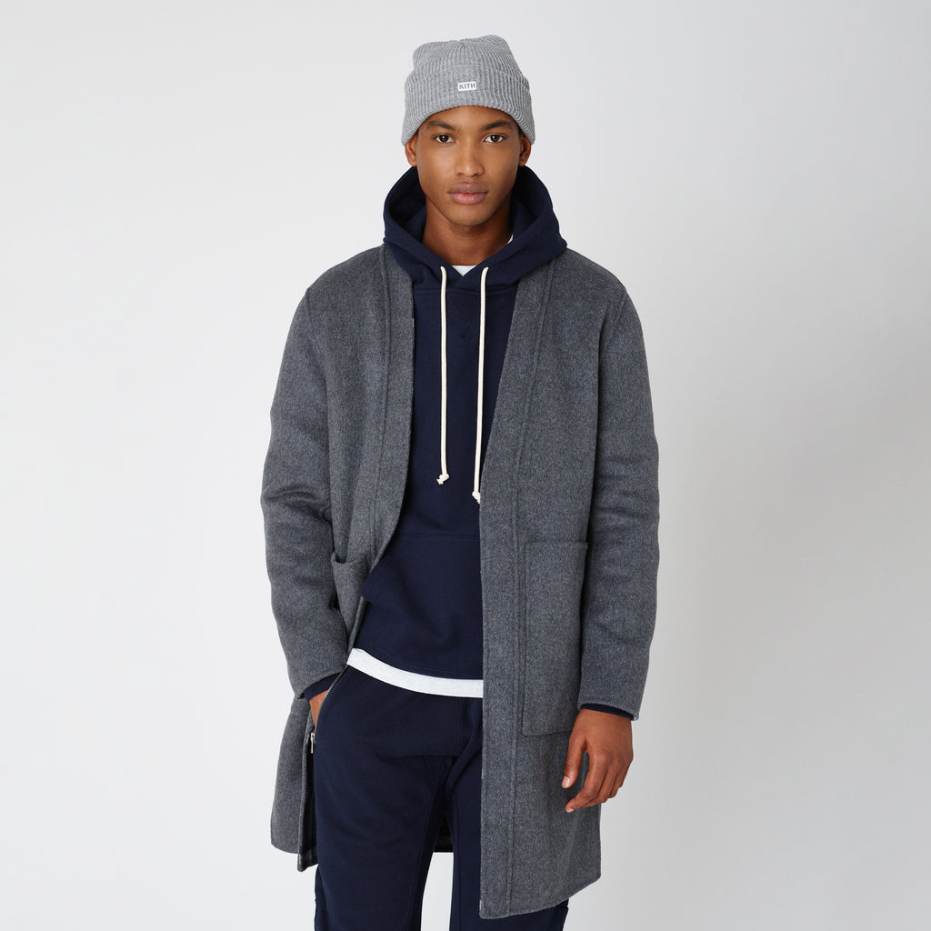 Kith Large Check Reversible Becker Wool Coat - Charcoal-look