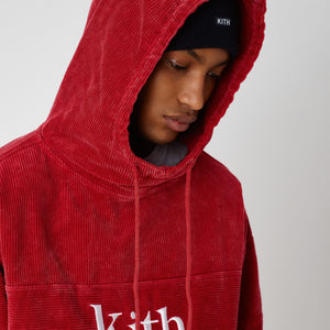 Kith Corduroy Double Pocket Hoodie - Red