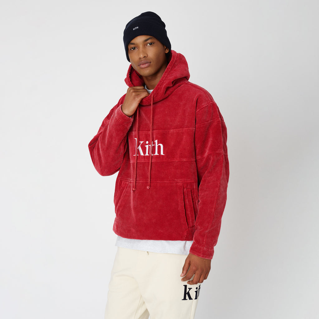 Kith Corduroy Double Pocket Hoodie - Red-look