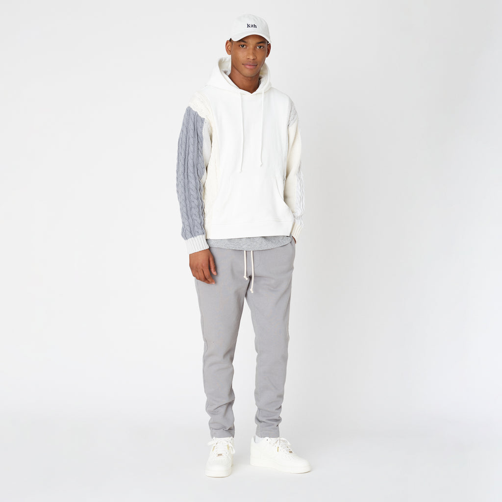 Kith Colorblock Adam Combo Knit Hoodie Pullover - White-look