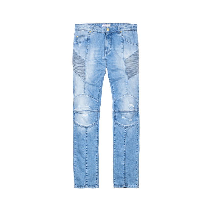 Pierre Balmain Moto Jeans - Washed Light Blue