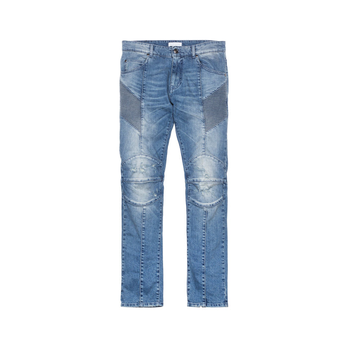 Pierre Balmain Moto Jeans - Washed Medium Blue