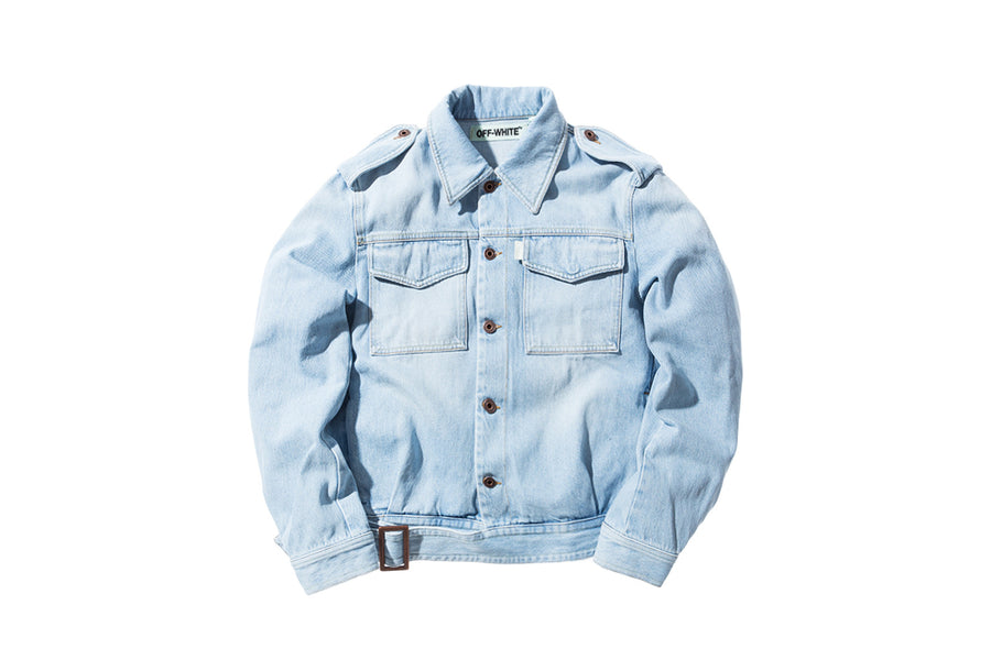 Off-White Denim Military Jacket Bleach - White