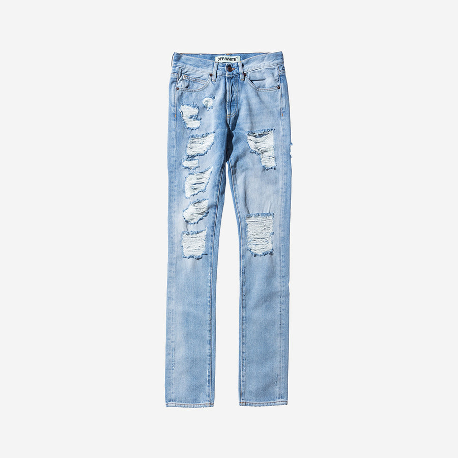 Off-White Distressed Denim - Bleach