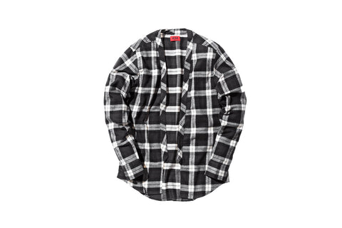 424 Flannel Throw Over Shirt - Black / White