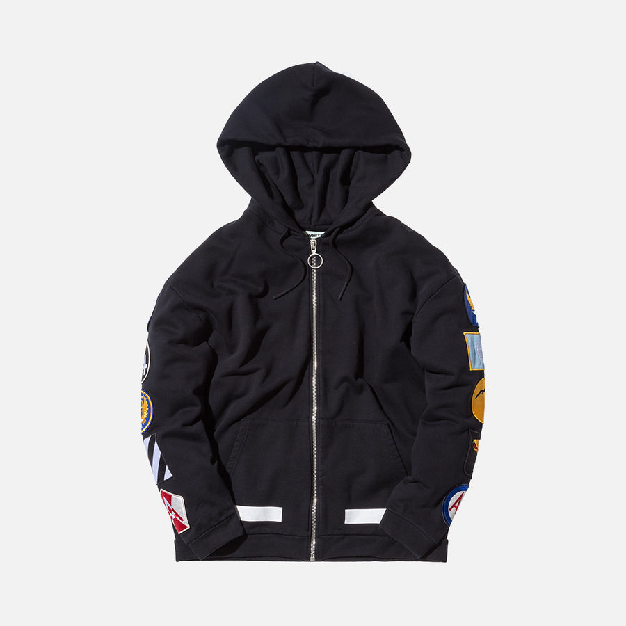 Off-White Hoodie  w/ Patches - Black / White
