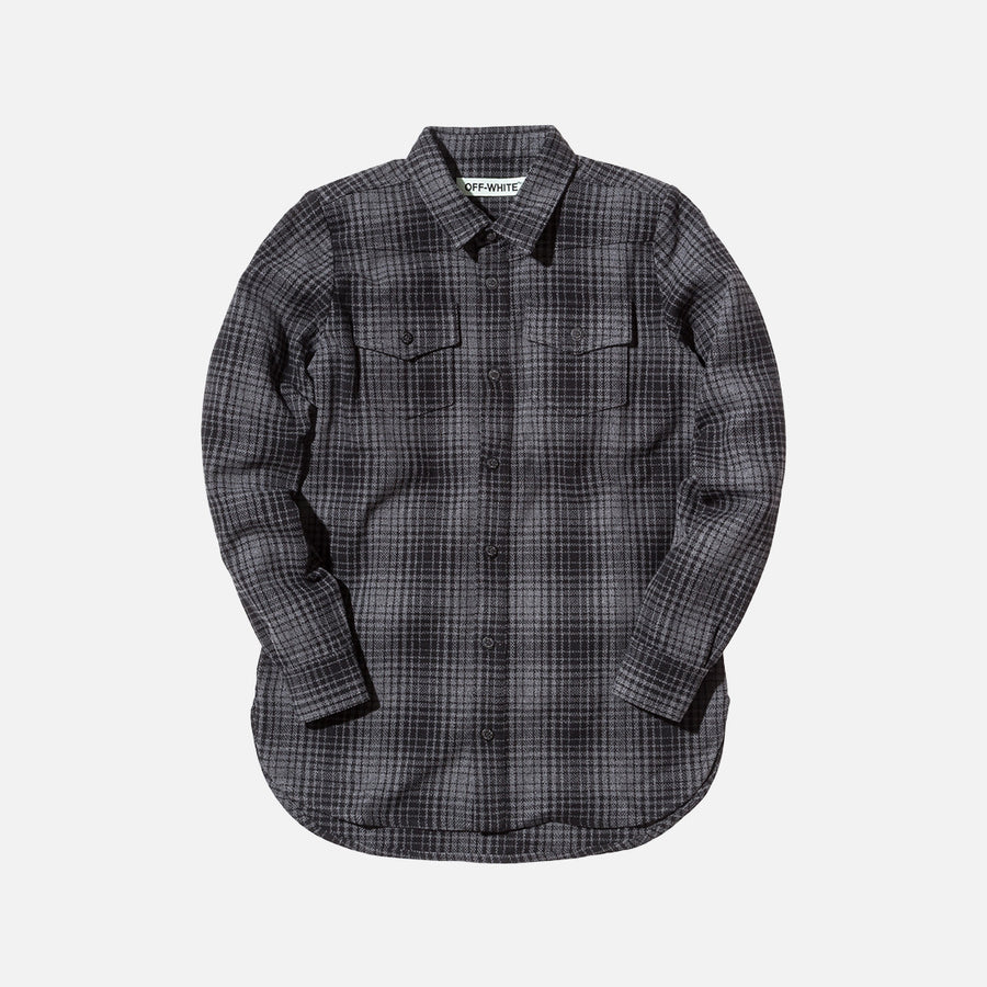 Off-White Tartan Button Up - Grey / Black
