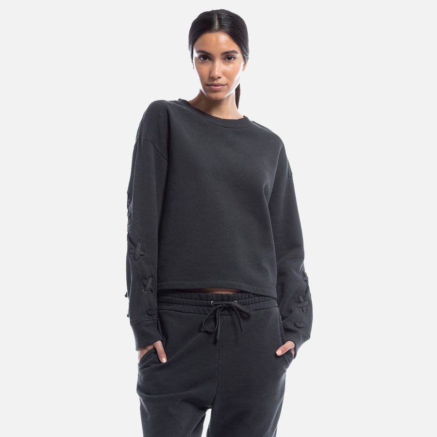 Kith x Iro Mukaki Lace-Up Crewneck - Black