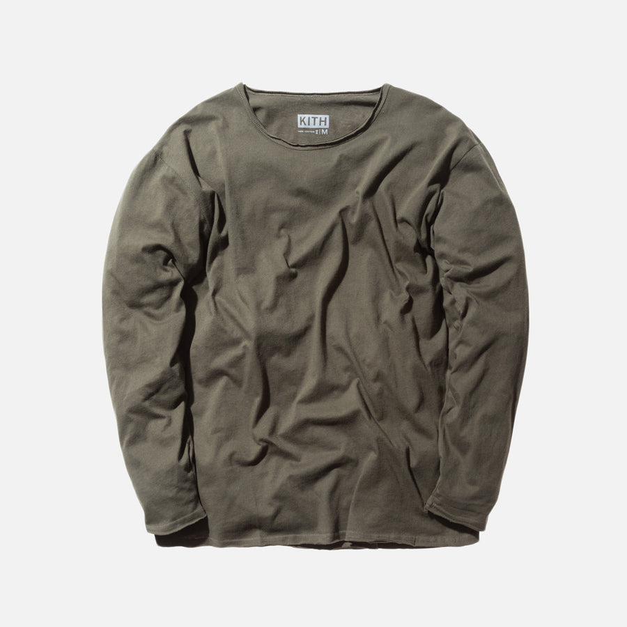 KITH Classics L/S Frayed Bank Tee - Olive
