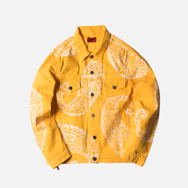 424 Paisley Denim Trucker Jacket - Yellow