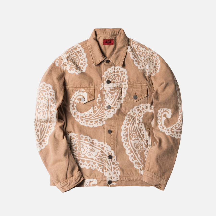 424 Paisley Denim Trucker Jacket - Camel
