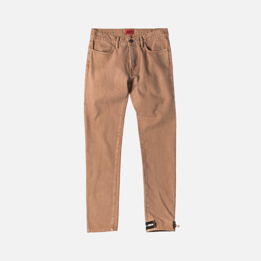 424 Denim Pant w/ Ankle Zip - Camel
