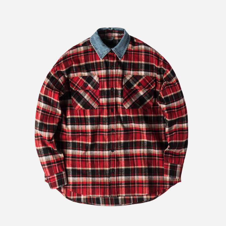Fear of God 5th Collection Denim Collared Flannel - Red / Plaid